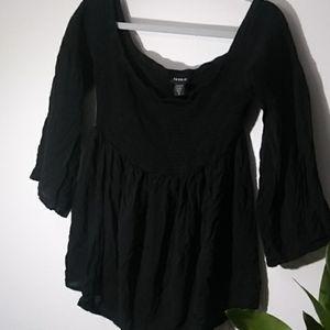 Torrid size 2 black flary blouse